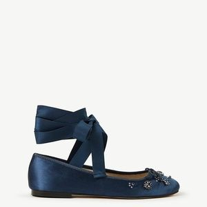 Ann Taylor Blue Zoey Jeweled Satin Lace Up Ballet